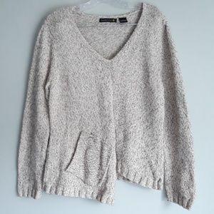 Babette Asymetrical Cream Chunky Knit Sweater L